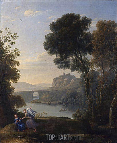 Landscape with Hagar and the Angel, 1646 | Claude Lorrain | Gemälde Reproduktion