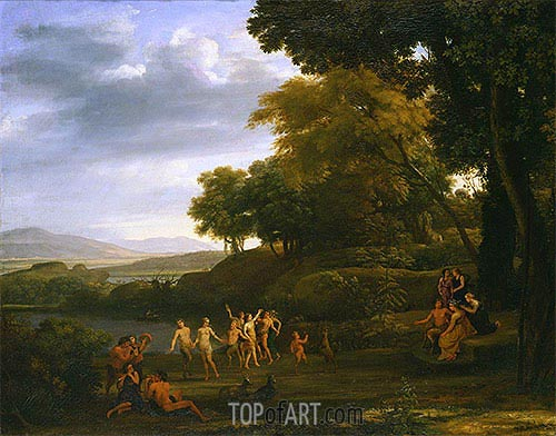 Landscape with Dancing Satyrs and Nymphs, 1646 | Claude Lorrain | Gemälde Reproduktion