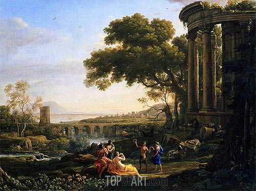 Landscape with Nymph and Satyr Dancing, 1641 | Claude Lorrain | Painting Reproduction