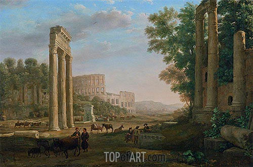 Capriccio with Ruins of the Roman Forum, c.1634 | Claude Lorrain | Painting Reproduction
