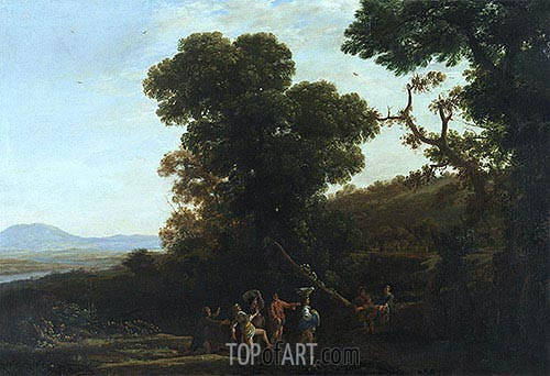 Landscape with Figures Wading Through a Stream, c.1636/37 | Claude Lorrain | Painting Reproduction