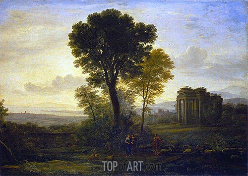 Landscape with Jacob, Rachel and Leah at the Well, 1666 | Claude Lorrain | Painting Reproduction