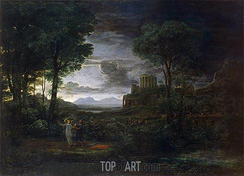Landscape with Jacob Wrestling with the Angel, 1672 | Claude Lorrain | Painting Reproduction