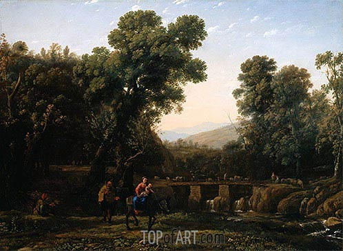 The Flight Into Egypt, c.1635 | Claude Lorrain | Gemälde Reproduktion