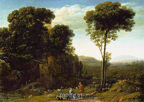 Pastoral Landscape with a Mill, 1634 | Claude Lorrain | Painting Reproduction