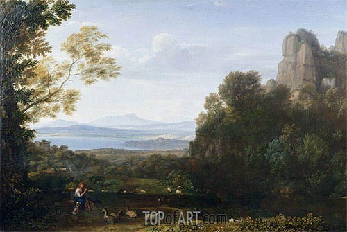 Landscape with Apollo and Mercury, 1660 | Claude Lorrain | Painting Reproduction
