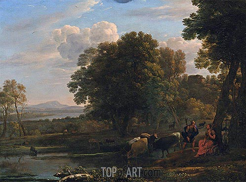An Evening Landscape with Mercury and Battus, 1654 | Claude Lorrain | Gemälde Reproduktion