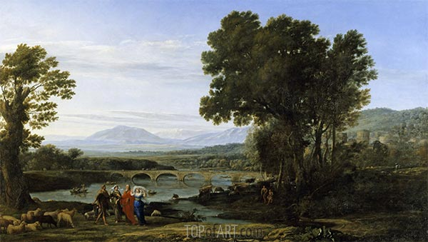 A River Landscape with Jacob and Laban and his Daughters, 1654 | Claude Lorrain | Painting Reproduction