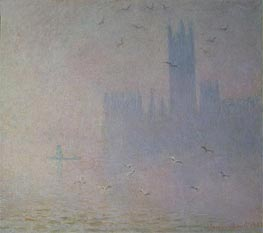 Houses of Parliament, Seagulls, 1904 by Monet | Painting Reproduction