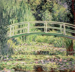 White Lilies and Japanese Bridge | Monet | Painting Reproduction