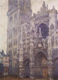 Rouen Cathedral, Tour d'Albane, Grey Weather, 1894 by Monet | Painting Reproduction