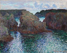 Rocks at Port-Goulphar, Belle-Ile, 1886 by Monet | Painting Reproduction