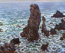 The 'Pyramids' of Port Coton, Belle Ile en Mer, 1886 by Monet | Painting Reproduction