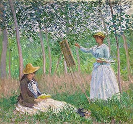 In the Woods at Giverny (Blanche Hoschede at Her Easel with Suzanne Hoschede Reading), 1887 by Monet | Painting Reproduction