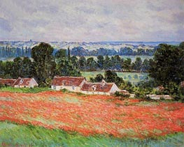 Poppy Field at Giverny, 1885 by Monet | Painting Reproduction