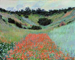 Poppy Field in a Hollow near Giverny, 1885 by Monet | Painting Reproduction