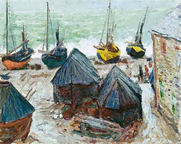 Boats on the Beach at Etretat | Monet | Painting Reproduction