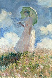 Woman with a Parasol Facing Left | Monet | Gemälde Reproduktion