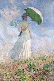 Woman with a Parasol Facing Right | Monet | Gemälde Reproduktion