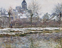 The Church at Vetheuil, Snow | Monet | Gemälde Reproduktion