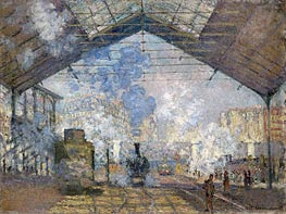 The Saint Lazare Station, 1877 by Monet | Painting Reproduction