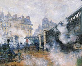 The Pont de l'Europe, Saint Lazare Station, 1877 by Monet | Painting Reproduction