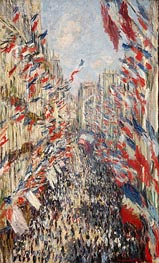 The Rue Montorgueil, Paris, Celebration of June 30, 1878 von Monet | Gemälde-Reproduktion