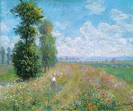 Meadow with Poplars (Poplars near Argenteuil), 1875 von Monet | Gemälde-Reproduktion