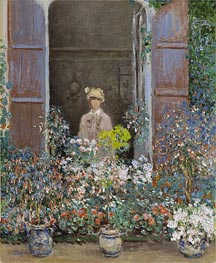 Camille Monet at the Window, Argenteuil, 1873 von Monet | Gemälde-Reproduktion