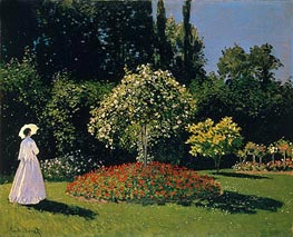 Woman in the Garden. Sainte Adresse, 1867 by Monet | Painting Reproduction