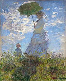 Woman with a Parasol - Madame Monet and Her Son | Monet | Painting Reproduction