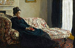 Meditation, Madame Monet Sitting on a Sofa, c.1871 by Monet | Painting Reproduction