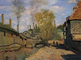 The Robec Stream, Rouen (Factories at Deville), 1872 by Monet | Painting Reproduction