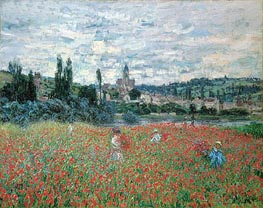 Poppies near Vetheuil, c.1879 by Monet | Painting Reproduction