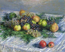 Fruit Still Life, Pears and Grapes, 1880 by Monet | Painting Reproduction