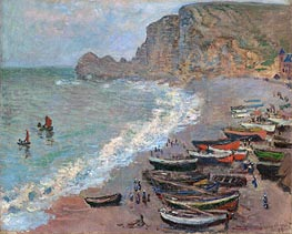 Etretat, Beach and the Porte d'Amont | Monet | Gemälde Reproduktion