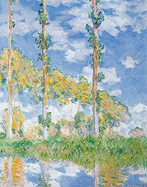 Poplars in the Sun, 1891 by Monet | Painting Reproduction