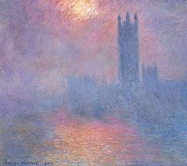 London, Parliament with the Sun Breaking Fog, 1904 by Monet | Painting Reproduction