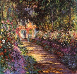 The Flowered Garden, Giverny | Monet | Painting Reproduction