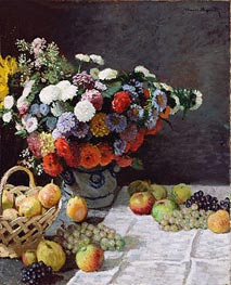 Still Life with Flowers and Fruit, 1869 von Monet | Gemälde-Reproduktion