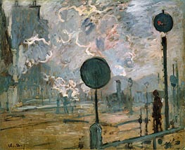 Exterior of Gaire Saint-Lazare Station (The Signal), 1877 by Monet | Painting Reproduction