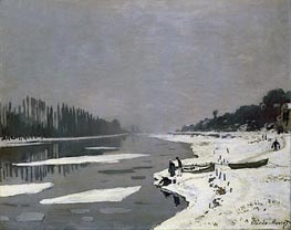 Ice on the Seine at Bougival, c.1864/69 by Monet   Painting Reproduction