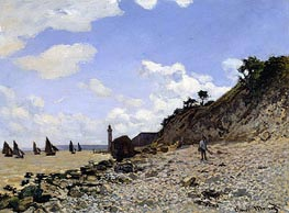Beach at Honfleur, c.1867 by Monet   Painting Reproduction