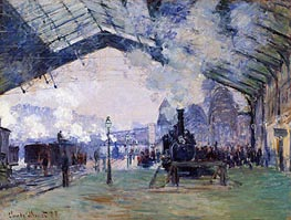 Arrival of the Normandy Train, Gare Saint-Lazare, 1877 by Monet   Painting Reproduction
