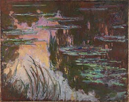 Water-Lilies, Setting Sun, c.1907 by Monet   Painting Reproduction