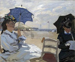 The Beach at Trouville, 1870 by Monet   Painting Reproduction