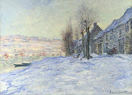 Lavacourt under Snow, 1881 by Monet   Painting Reproduction