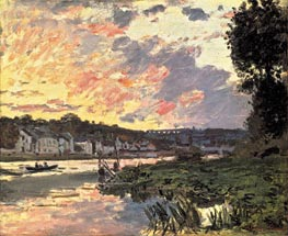 The Seine at Bougival, Evening, 1869 by Monet | Painting Reproduction