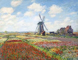 Tulip Fields with the Rijnsburg Windmill | Monet | Painting Reproduction