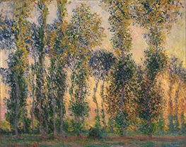 Poplars at Giverny, Sunrise, 1888 by Monet | Painting Reproduction